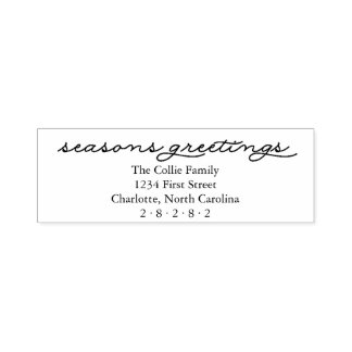 Seasons Greetings Personalized Holiday Self-inking Stamp