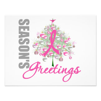 Season's Greetings Pink Ribbon Tree Custom Invite