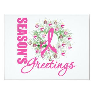Season's Greetings Pink Ribbon Wreath 4.25x5.5 Paper Invitation Card