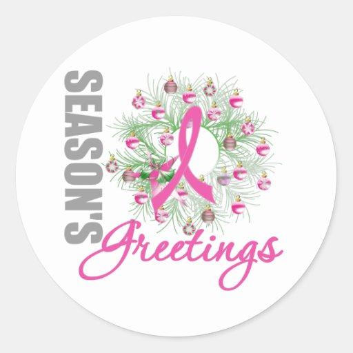 Season's Greetings Pink Ribbon Wreath Stickers