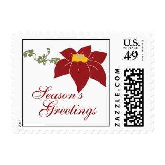 Season's Greetings Poinsettia Holiday Stamp