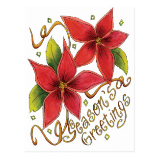 Season's Greetings Poinsettias Postcard
