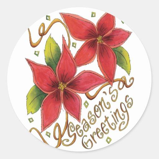 Season's Greetings Poinsettias Sticker