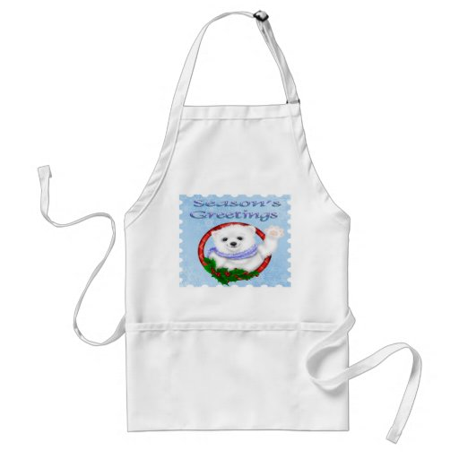 Season's Greetings Polar Bear Apron