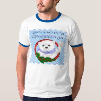 Season's Greetings Polar Bear Men's Ringer T-Shirt