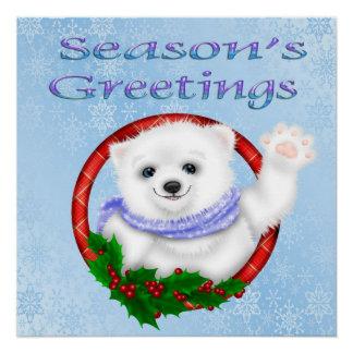 Season's Greetings Polar Bear Poster