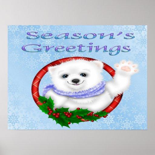 Season's Greetings Polar Bear Poster/Print