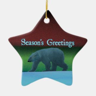 Season's Greetings - Polar Lights Polar Bear Ceramic Star Decoration
