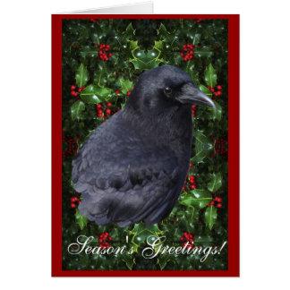 """""""Season's Greetings"""" Raven Wildlife Xmas Card"""