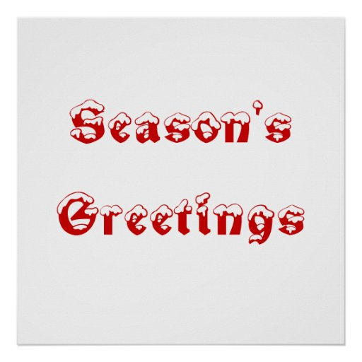 Season's Greetings. Red and White. Custom Print