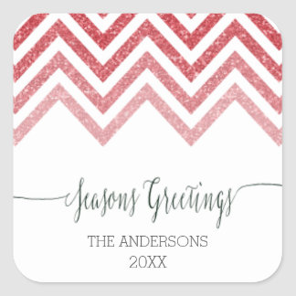 Seasons Greetings red chevron Stickers