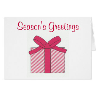 season's greetings red gift note card