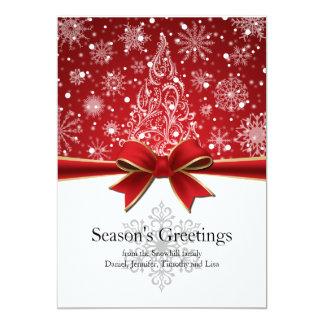 Season's Greetings Red Holiday Flat Card 13 Cm X 18 Cm Invitation Card
