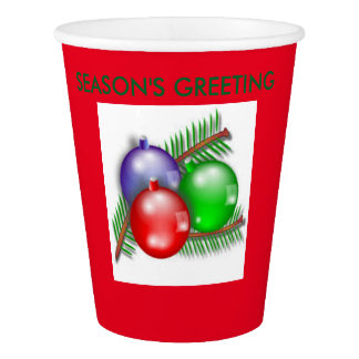 SEASON'S GREETINGS RED PAPER CUPS