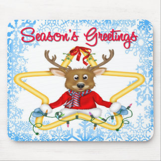 Season's Greetings Reindeer Mouse Pad