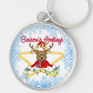 Season's Greetings Reindeer Premium Round Key Chai Silver-Colored Round Key Ring