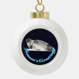 Season's Greetings - Ringed Seal Ceramic Ball Decoration