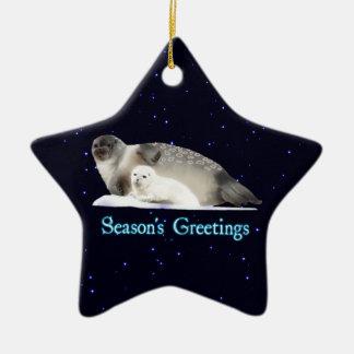 Season's Greetings - Ringed Seal Ceramic Star Decoration