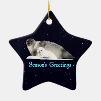 Season's Greetings - Ringed Seal Christmas Ornament