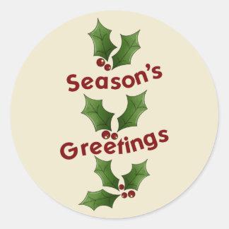Season's Greetings Round Sticker