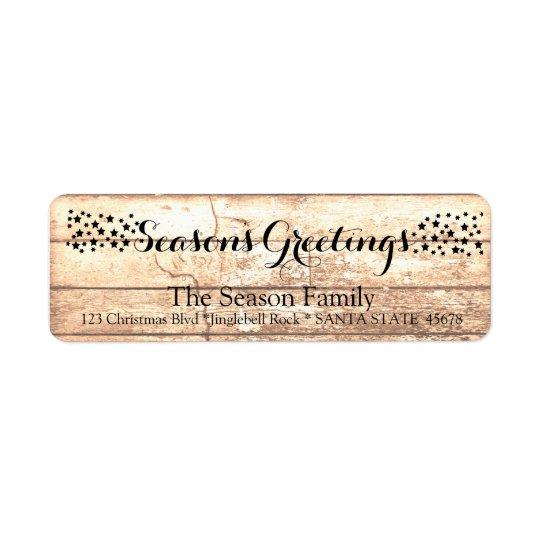 Season's Greetings Rustic wooden holiday label