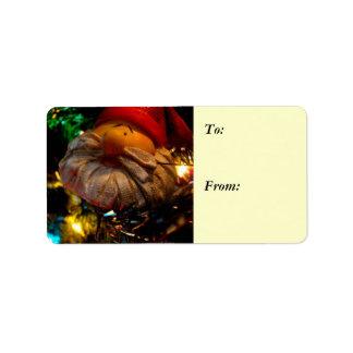 Season's Greetings Santa Ornament Gift Label Address Label