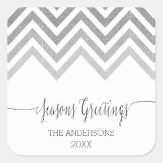Seasons Greetings silver chevron Stickers