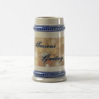 Seasons Greetings Snowflake & Lights Blue Mug