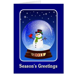 Season's Greetings Snowman 2011 Greeting Card