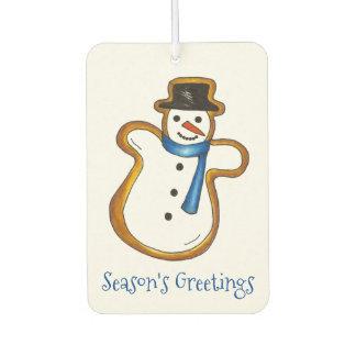 Season's Greetings Snowman Christmas Hanukkah Gift Car Air Freshener
