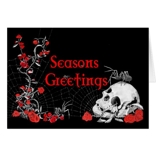 Seasons Greetings Spider, Skull and Roses card