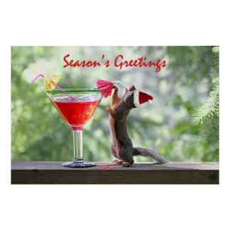 Season's Greetings Squirrel Poster