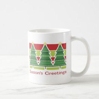 Season's Greetings Three Trees Classic White Coffee Mug