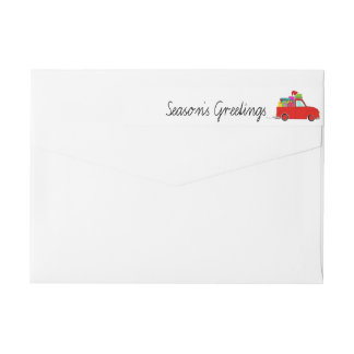 Season's Greetings Truck and gifts Christmas label