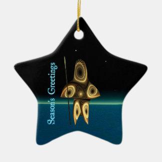 Season's Greetings - Tuvaaq Fractal Inuit Hunter Ceramic Star Decoration