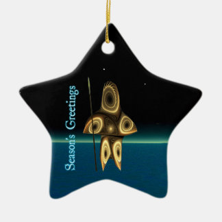 Season's Greetings - Tuvaaq Fractal Inuit Hunter Christmas Ornament
