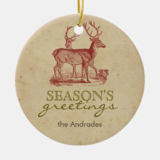 Season's Greetings Vintage Christmas Deer Rustic Christmas Ornament