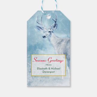 Seasons Greetings Winter Deer and Pine Trees Gift Tags