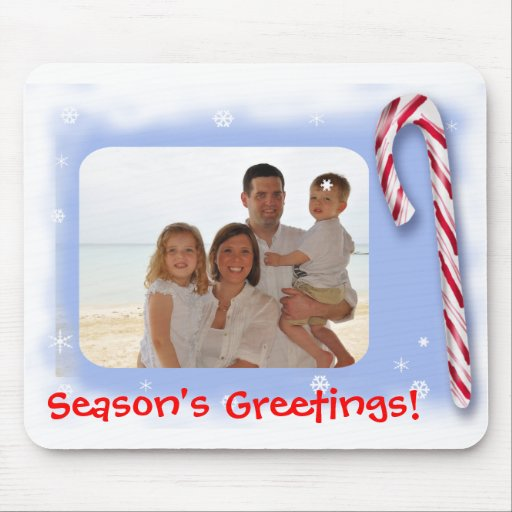 Season's Greetings with a photo and a candy Mousepads