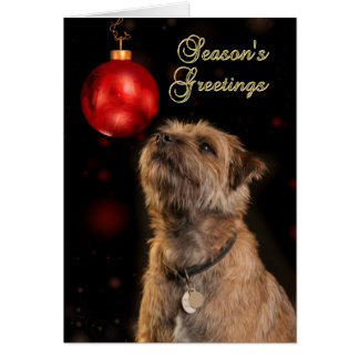 Season's Greetings With Border Terrier Dog Card