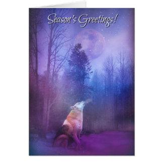 Season's Greetings Wolf in Snow Card