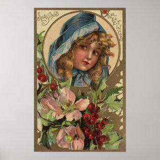 Seasons GreetingsGirl in a Hood Print
