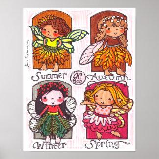 Seasons Themed Fairies Poster