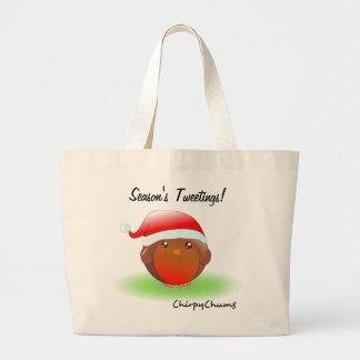 Season's tweetings Christmas Robin Tote Bags