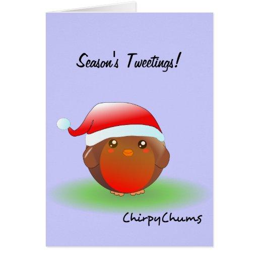 Season's tweetings Christmas Robin Greeting Cards