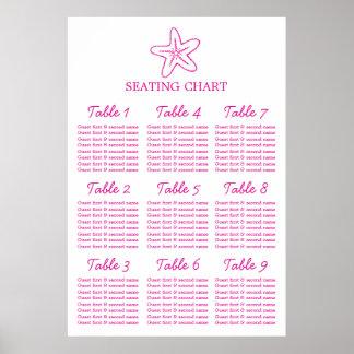 Seastar starfish Wedding Seating Table Planner 1-9 Poster