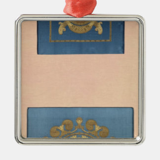 Seat backs by Grand-Freres of Lyons, 1811 Silver-Colored Square Decoration