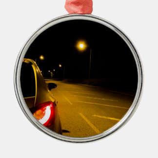 Seat Ibiza on the lonely road Silver-Colored Round Decoration
