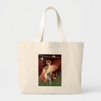 Seated Angel - Norwegian Elkhound Large Tote Bag