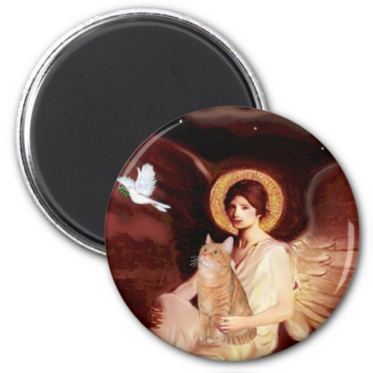 Seated Angel - Orange Tabby SH cat 46 6 Cm Round Magnet